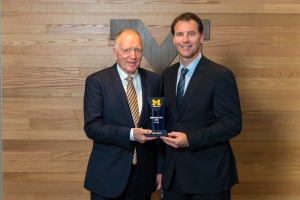 Distinguished Alumni Award Winner Red Berenson with Presenter Mike Knuble